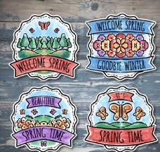 4款彩绘春季标签