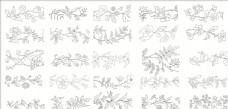 白描花卉植物素材线稿01
