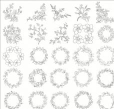 白描花卉植物素材线稿06