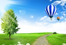 蓝天白云草地