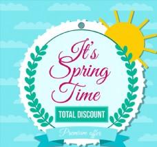 彩色春季花环促销标签