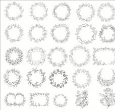 白描花卉植物素材线稿07