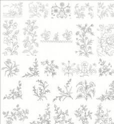 白描花卉植物素材线稿03