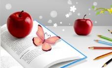 苹果蝴蝶彩色铅笔书本合成桌面