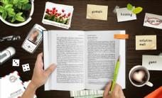 书本笔记合成桌面