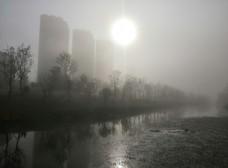阳光透过大雾照射的公园