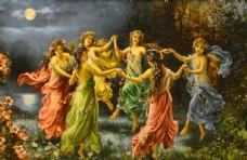 欧式手绘油画希腊女神装饰画背景
