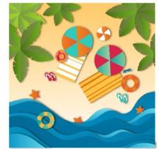 海滩剪纸背景