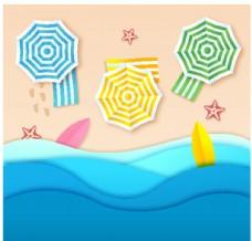 沙滩剪纸背景
