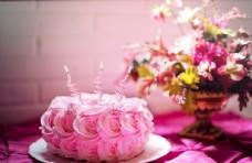 粉色花 蛋糕
