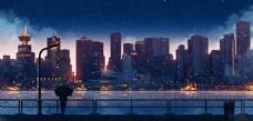 城市夜景插画