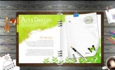 美术设计便签本合成桌面