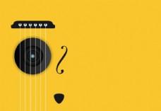吉他背景黄色背景