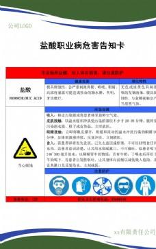 职业病危害告知卡(盐酸)