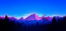 蓝色远山插画