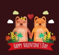 可爱情人节猫咪情侣