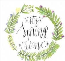 绿色花环装饰春季艺术字