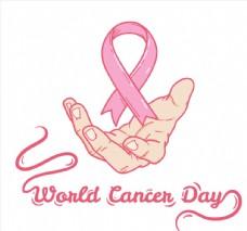 创意世界癌症日托举丝带的手