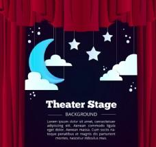 创意星星月亮和舞台幕布