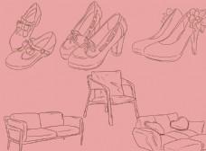 实用鞋家具剪影