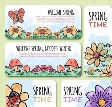 5款彩绘春季植物banner