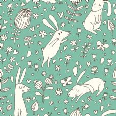 卡通小兔花纹背景