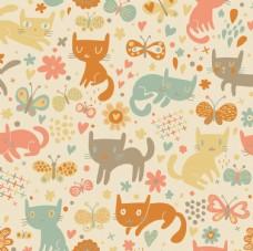 卡通小猫花纹