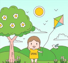 春季郊外放风筝的儿童