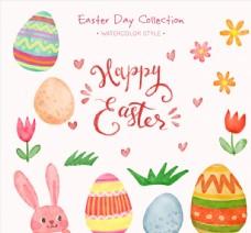 彩绘复活节兔子和6个彩蛋