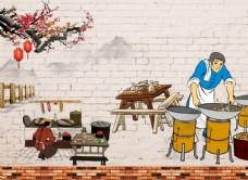 餐饮背景墙图案