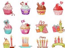 卡通糖果色生日蜡烛蛋糕