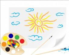 儿童手绘蜡笔画