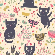 卡通小猫咪花纹背景