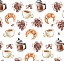 水彩绘咖啡和牛角面包无缝背景