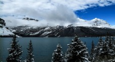 加拿大弓湖初冬雪景