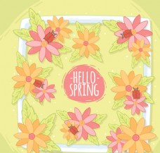 创意你好春季花卉框架矢量图