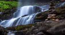 唯美林间溪流风景摄影