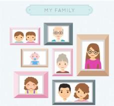 创意全家福照片墙矢量素材