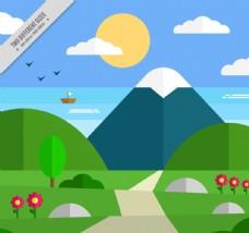扁平化通往山间的路边风景矢量图