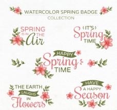 5款彩绘春季花卉徽章矢量素材