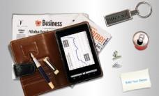 商务皮质笔记本合成桌面