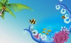 手绘油画世界海洋电视背景墙