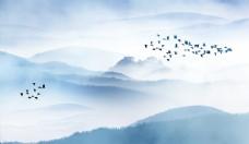 水墨远山禅意飞鸟电视背景墙壁画