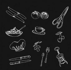 厨房烹饪手绘