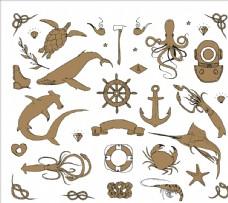 船浆 船舵 舵 海龟
