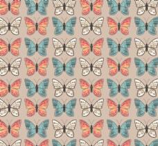 复古彩色蝴蝶无缝背景矢量图