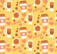 创意咖啡元素无缝背景矢量图