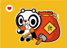 卡通熊猫 插画  卖萌 宠物