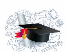 教育元素背景 博士帽