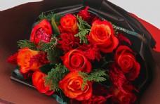 情人节520橙色玫瑰花花束高清